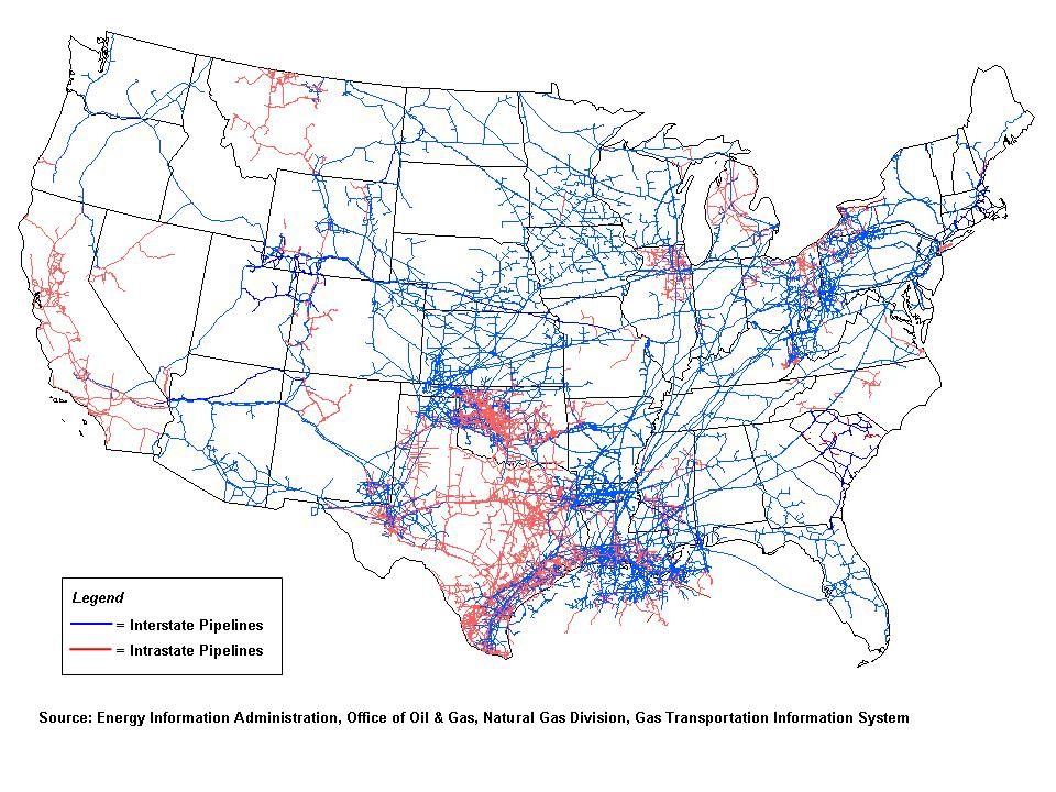 Natural Gas Pipelines in the United States. New Mexico, Arizona have two major pipeline corridors extending from Texas.