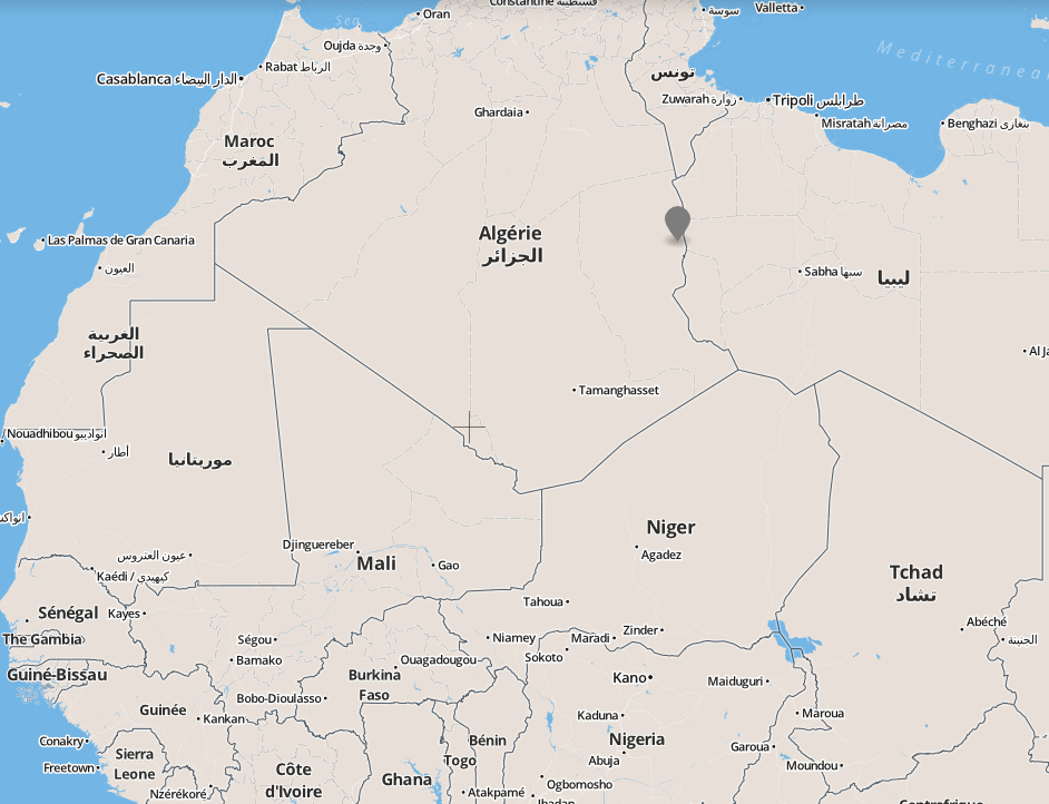 Location of In Amenas natural gas plant in Algeria, seized by militants Jan. 16, 2013