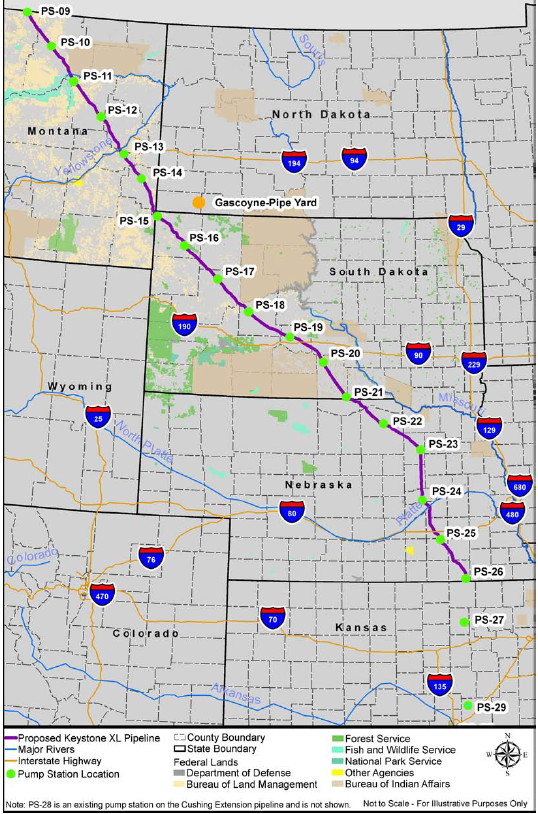 Kxl Route Through Us West With Pumping Station Locations