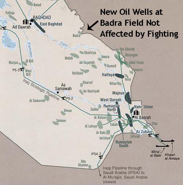 Map MENA Iraq iraqoilfieldsinsouthBadra – Map of Iraqi Oil Fields